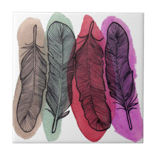Watercolor Feathers Ceramic Tiles