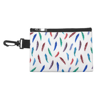 Watercolor Feathers Clip On Accessory Bag