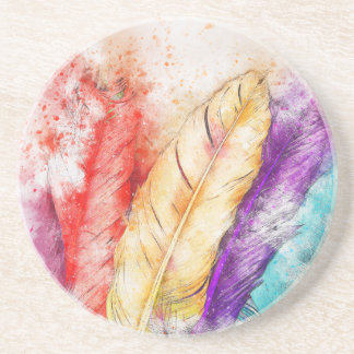 Watercolor Feathers Coaster