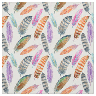 Watercolor Feathers Fabric