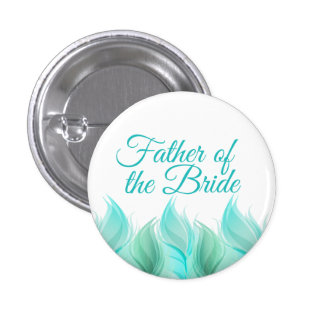 Watercolor Feathers Father of the Bride 1 Inch Round Button