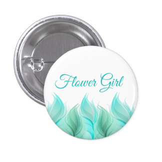 Watercolor Feathers Flower Girl 1 Inch Round Button