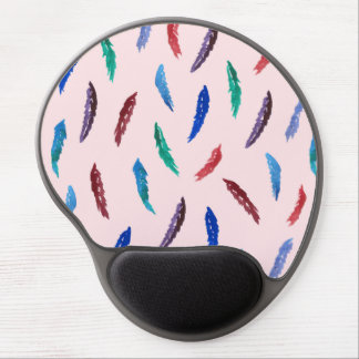 Watercolor Feathers Gel Mousepad