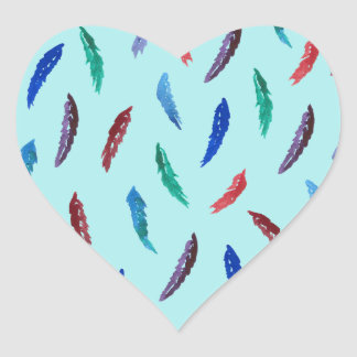 Watercolor Feathers Glossy Heart Sticker