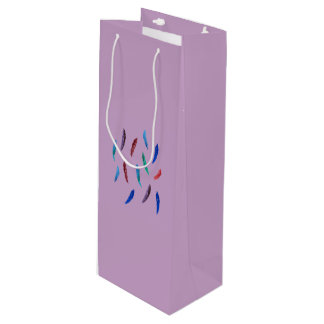 Watercolor Feathers Glossy Wine Bag