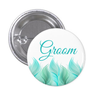 Watercolor Feathers Groom 1 Inch Round Button