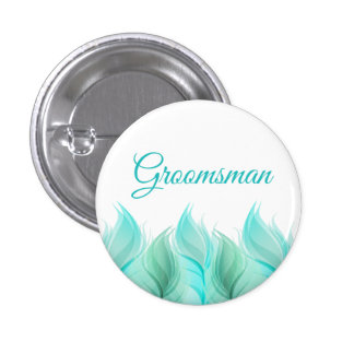 Watercolor Feathers Groomsman 1 Inch Round Button