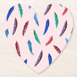 Watercolor Feathers Heart Paper Coaster