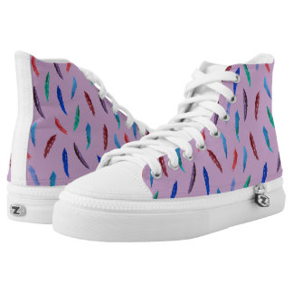 Watercolor Feathers High Top Shoes