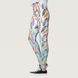 Watercolor Feathers Leggings