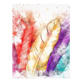 Watercolor Feathers Letterhead