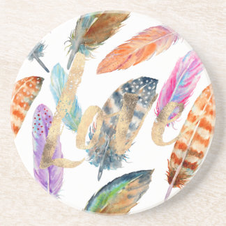 Watercolor Feathers Love Coaster