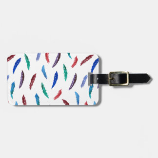 Watercolor Feathers Luggage Tag