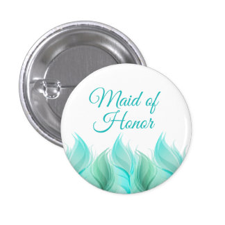 Watercolor Feathers Maid of Honor 1 Inch Round Button