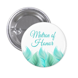 Watercolor Feathers Matron of Honour 1 Inch Round Button