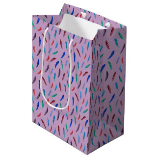 Watercolor Feathers Medium Glossy Gift Bag
