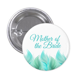 Watercolor Feathers Mother of the Bride 1 Inch Round Button