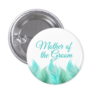 Watercolor Feathers Mother of the Groom 1 Inch Round Button
