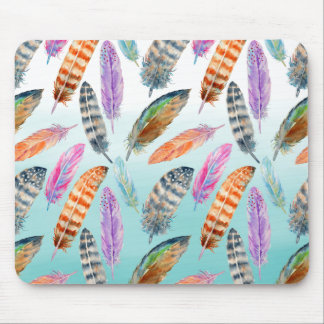 Watercolor Feathers Mouse Pad