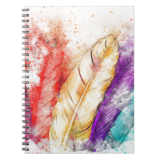 Watercolor Feathers Notebooks