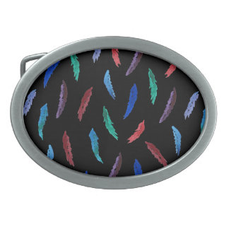 Watercolor Feathers Oval Belt Buckle