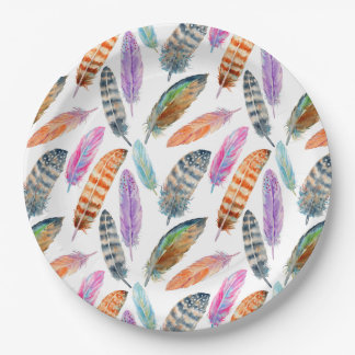 Watercolor Feathers Paper Plate