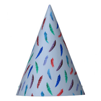 Watercolor Feathers Party Hat