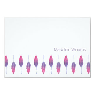 "Watercolor Feathers Personalized Notecards 3.5"" X 5"" Invitation Card"
