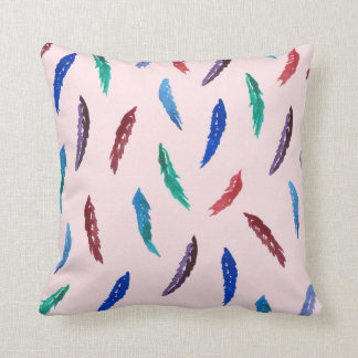Watercolor Feathers Polyester Throw Pillow 16''
