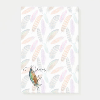 Watercolor Feathers Post-it Notes