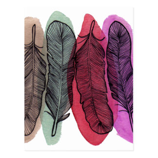 Watercolor Feathers Postcard