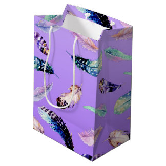 Watercolor Feathers purple pattern Medium Gift Bag