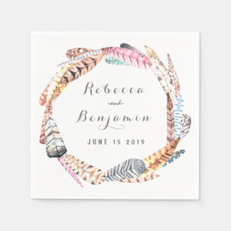 Watercolor Feathers Rustic Bohemian Wedding Disposable Napkins