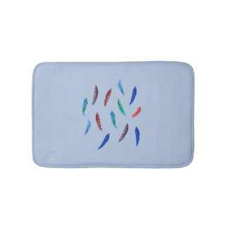 Watercolor Feathers Small Bath Mat