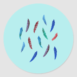 Watercolor Feathers Small Glossy Round Sticker