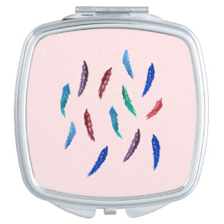Watercolor Feathers Square Compact Mirror