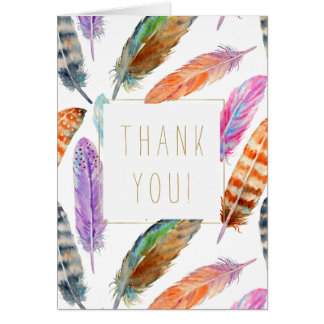 Watercolor Feathers Thank you Card
