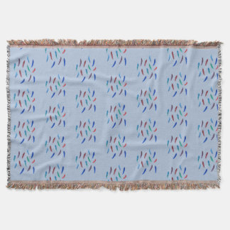 Watercolor Feathers Throw Blanket