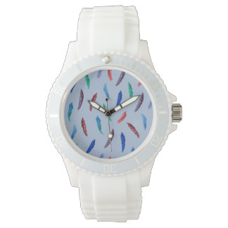 Watercolor Feathers Women's Sporty Silicon Watch