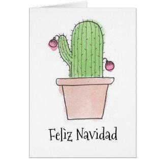 Watercolor Felìz Navidad Cactus Card