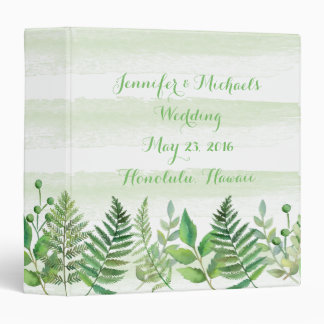Watercolor Ferns Leaves Greenery Wedding Planner Binder
