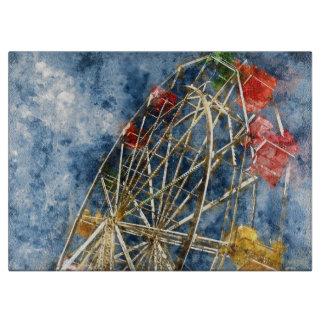 Watercolor Ferris Wheel in Santa Cruz California Boards