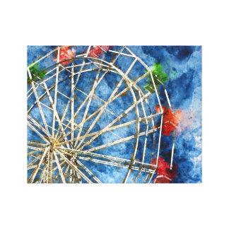 Watercolor Ferris Wheel in Santa Cruz California Canvas Print