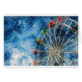 Watercolor Ferris Wheel in Santa Cruz California Card