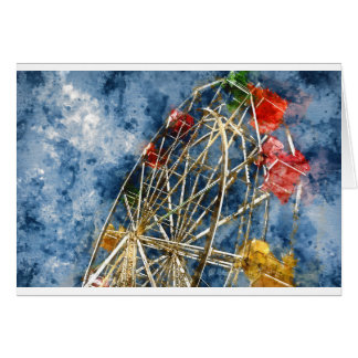 Watercolor Ferris Wheel in Santa Cruz California Card