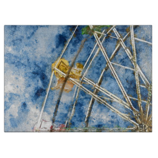 Watercolor Ferris Wheel in Santa Cruz California Cutting Board