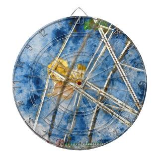 Watercolor Ferris Wheel in Santa Cruz California Dartboard