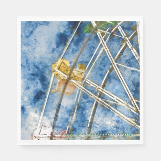 Watercolor Ferris Wheel in Santa Cruz California Disposable Napkins