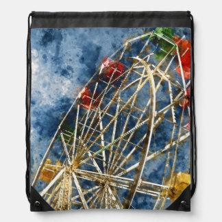 Watercolor Ferris Wheel in Santa Cruz California Drawstring Bag