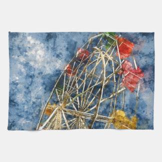 Watercolor Ferris Wheel in Santa Cruz California Hand Towel